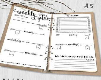Printable Weekly Planner, A5 Weekly Planner, Printable Inserts, A5 Organizer Notebook Weekly planner inserts, PDF file