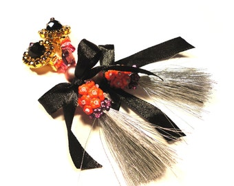 Reserved for Joanne, Coquettish tassel and bow clip earrings, black, grey, pink and red