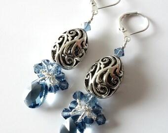 Crystal Earrings, Denim Blue, Open Scrollwork Silver Beads, Pear Shape, Swarovski Crystal Pear Drops, Beaded Earrings, OOAK, Gift for Her