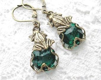 Emerald Green Frogs Earrings Charmed Glass and Brass Earrings