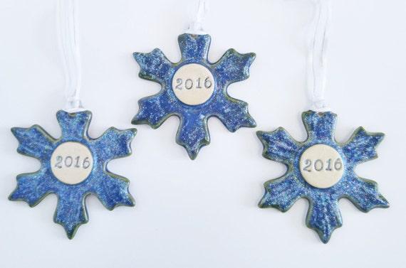 2016 Holiday Ornament - Snowflake - Ceramic - Stoneware - 2016 - Blue - Ornament - Christmas - Winter - Snow - Ornament Exchange