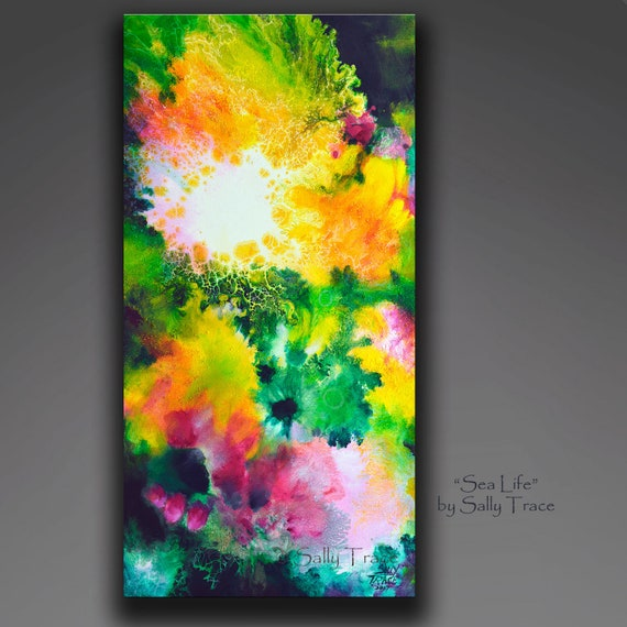 Original art, abstract painting, fluid painting, poured painting on canvas, 12x24 inches