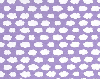 HALF YARD - Stof Fabrics - Avalana Jersey Knit - White Clouds on Purple - Extra Wide - 162 cm wide