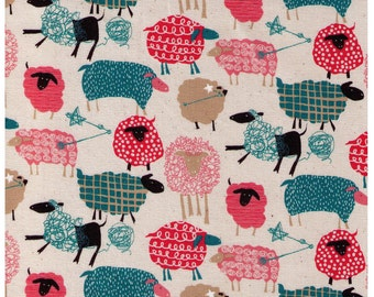 HALF YARD - Sheep, Stars and Yarn - Cotton Oxford - Cosmo - Japanese Imported Fabric