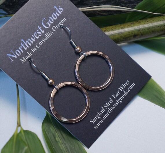 Small Copper Hoop Earrings