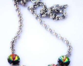 Swarovski crystal vitrail medium 12mm rivoli fancy stone chain necklace,rhodium silver setting