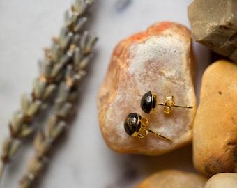 Tiny Black and Gold Stud Earrings - Black Copper Obsidian, 14k Gold, Post Earrings - Elegant, Small, Petite, Little Earrings - Natural Stone