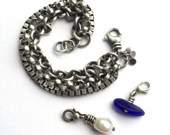 Sterling Silver Heavy Triple Chain Bracelet Cobalt Blue Beach Glass Seaglass Freshwater Pearl Optional Charms