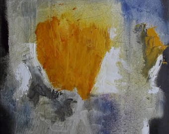 Small abstract oil painting in amber grey blue and white 12 x 10 inches