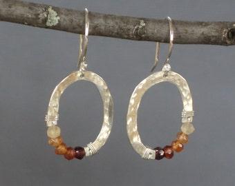 Hessonite Garnet Earrings, Ombre Earrings, Small Silver Oval Earrings, Organic Oval