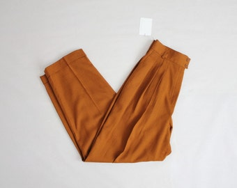 high waist wool pants | wool trousers | pleated wool pants