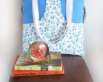 ON SALE Chasing Light// Sky Blue and Floral Kangaroo Pocket Pouch Tote Bag