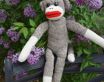 """Sock Monkey, Vintage, Handmade in 1970s or 1960s, perfect condition, 19"""""""