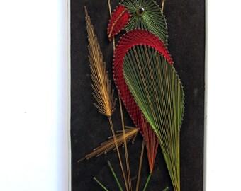 Vintage 1970s String Art, Bird, Parrot, Handmade Wall Hanging, 70s Wall Decor, Thread Art, Lost Art