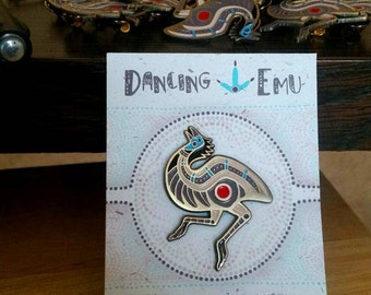 Dancing Emu Enamel Art Pin - Collectible Limited Edition bird ratite jewelry gift tribal aboriginal design