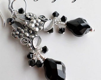 Antique Silver Flower Dangle Earrings, Black Swarovski Crystal Silver Flower Earrings, Black Long Earrings, Black Statement Earrings, Black