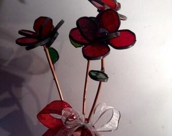 3 Long Stem Rose Bouquet - Cream, Mauve, Purple - Valentine's Day, Anniversary, Birthday, Wedding, Table Arrangement, I Love You, Sympathy
