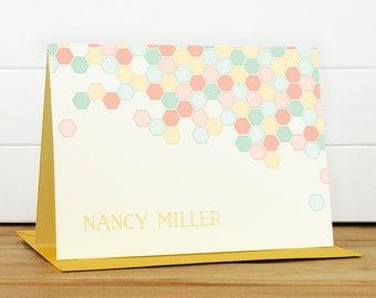 Custom Stationery / Custom Stationary - PAVE Custom Note Card Set - Bright Colorful Hexagon