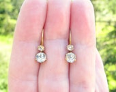 Antique Gold Paste Drop Earrings, Super Sparkly Old European Cut Foil Backed Glass Gems, Petite Dangle Earrings, Victorian Period