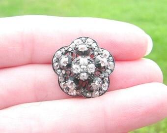 Antique Diamond Flower Brooch or Custom Pendant Conversion, White Fiery Old Mine Cut Diamonds, Stunning Victorian Diamonds in Silver & Gold