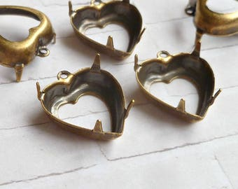 Brass Settings - 15x14mm Heart Prong Settings with One Loop (28-5F-6)