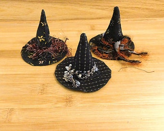 Black Witch Hats Halloween Ornaments Primitive Fall Bowl Fillers