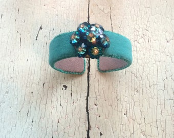 Blue Green Adjustable Cuff with Beaded and Rhinestone Center