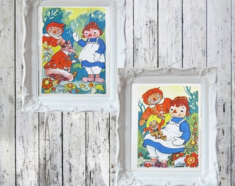 """2 Vintage Raggedy Ann , Beloved Belindy and Hoppy Toad Plates/Prints Original Prints from 1940 Book 6 1/2"""" x 4 1/2"""""""