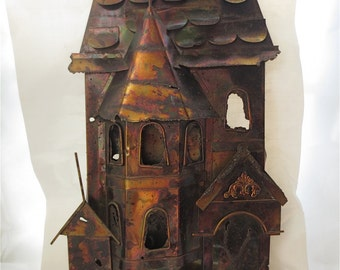 Metal Townhouse Sculpture Wall Hanging City House 3 Dimensional Made in Hong Kong Vintage 1970s