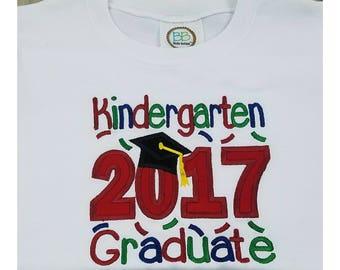 Kindergarten Graduation Shirt - Class of 2017 - White Embroidered Boy's Grad Shirt – Graduation Outfit - Kindergarten Pictures