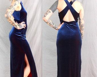 90's Blue and Red Shimmer Velvet Dress in Medium . Criss Cross Back . X Exposed Back . 1990s maxi dress . m small sm . slit kriss kross