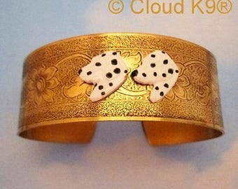 DALMATIAN CUFF BRACELET. Vintage Style Dalmatian Jewelry. Gifts for People Who Love Spotted Dogs. Signed CloudK9 . Dalmatian Gifts for Women