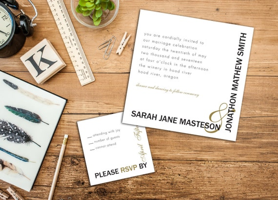 Simply Bold Elegant Wedding Invitation, Square Wedding Invitation with Envelopes, Response Cards and Thank You Cards Available, DIY Digital
