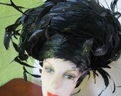 Jack McConnell  Black Breton Hat Dancing Red Feather Vintage 1980s Derby Church Easter