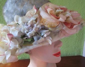 French Vintage Pink Silk Floral Velour Ivory Wool Breton Flowerpot Hat Church Derby