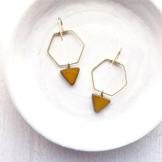 Hexagon Earrings > Mustard