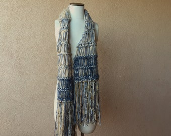 Knitwear Boho Scarf Knit Grey and Brown Unisex Handknit Scarf for Men or Women, Great with Denim Blue Jeans