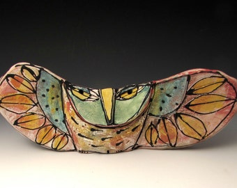 "Owl, handmade one of a kind art,""Owl Person Holding Space for the Dream of Love."" 10-1/4"" wide"