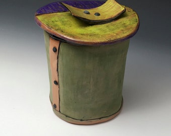 """Desk Container with Lid, colorful handmade from clay, one of a kind artwork, 5"""" wide x 5.75"""" tall"""