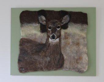 Doe in Fall-Felted Wool Wall Hanging-Deer Picture