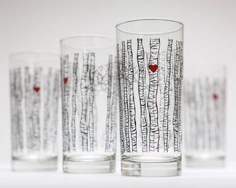 Birch Tree Glassware - Set of 4 Everyday Water Glasses, Birch Tree Glasses, Birch Trees, Birch Tree Glass, Birch Tree Wedding Glasses