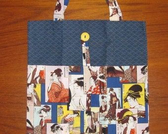 Tuck and Roll Fold-Up Portable Shopping Tote Japanese Utamaro Geisha Design