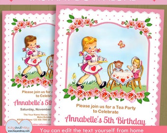 Tea Party invitation / girl with dolls tea birthday theme invite - INSTANT DOWNLOAD P-70-TEA - You can edit text from home with Adobe Reader