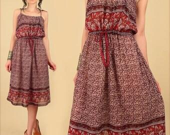 Indian Cotton Dress ViNtAgE 70's Gauze SunDress Bohemian India Gypsy Festival Sun // BoHo HiPPiE s/m