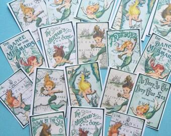 Mermaid Stickers - Set of 18 - Handmade Stickers, Vintage Style, Vintage Mermaids, Cute Planner Stickers, Cute Mermaid, Kitsch Mermaids