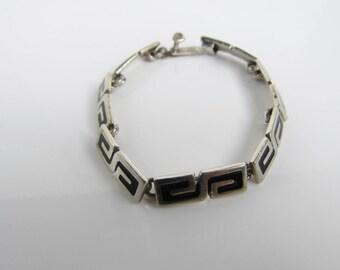 """Vintage Mexico Sterling Silver Greek Key Link Bracelet - 7.25""""       1318"""