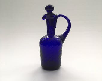Mouth Blown Mid Century Cobalt Blue Stoppered Glass Cruet