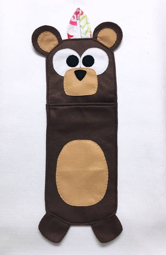 Bear Stocking, Christmas Stocking, Nester the Brown Bear - One of a Kind, Gifts for Kids, Felt Animal, Gifts under 50