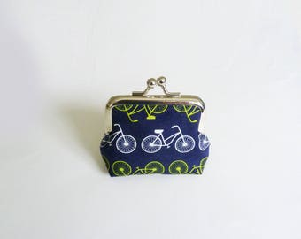 Coin purse, bike fabric, navy blue green and white bicycle fabric, cotton purse
