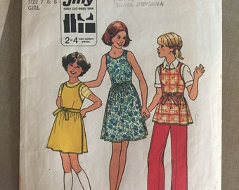 "1960s Simplicity Girl's Wrap Dress Blouse Pattern #8045 Size 7 & 8, Breast 26 27""  - NC - Vintage Simplicity / 60s Simplicity / Vintage Girl"